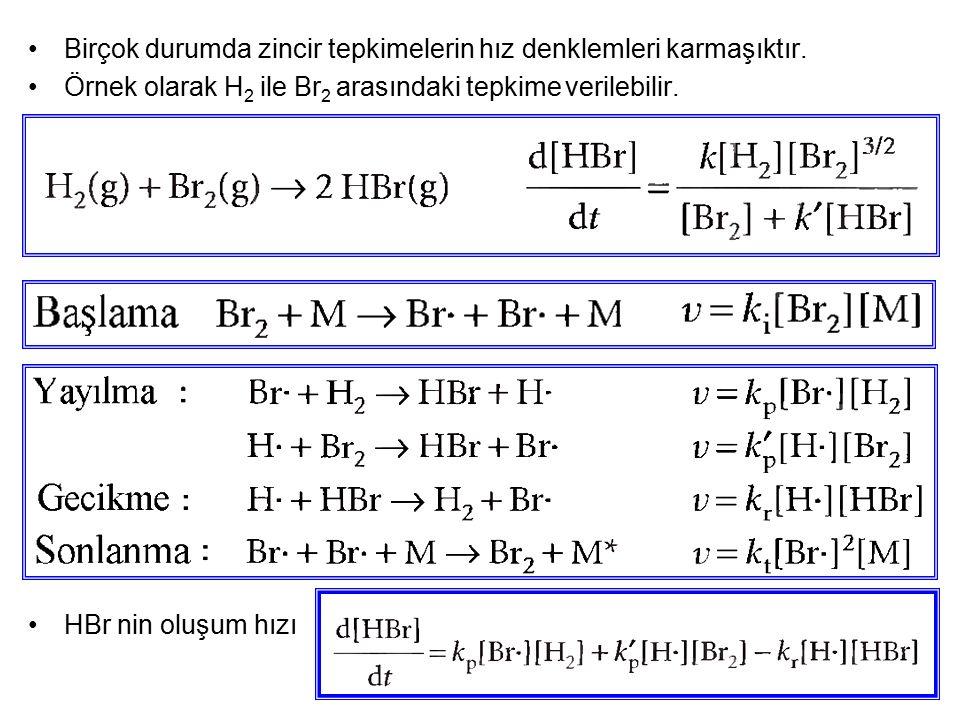 Birçok durumda zincir tepkimelerin hız denklemleri karmaşıktır.