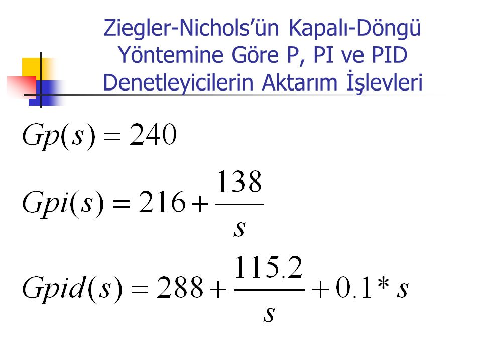 Ziegler-Nichols'ün Kapalı-Döngü Yöntemine Göre P, PI ve PID Denetleyicilerin Aktarım İşlevleri
