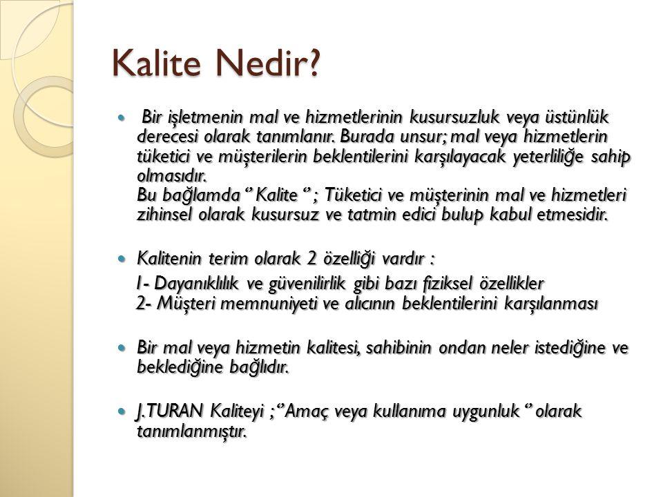 Kalite Nedir Kalitenin terim olarak 2 özelliği vardır :