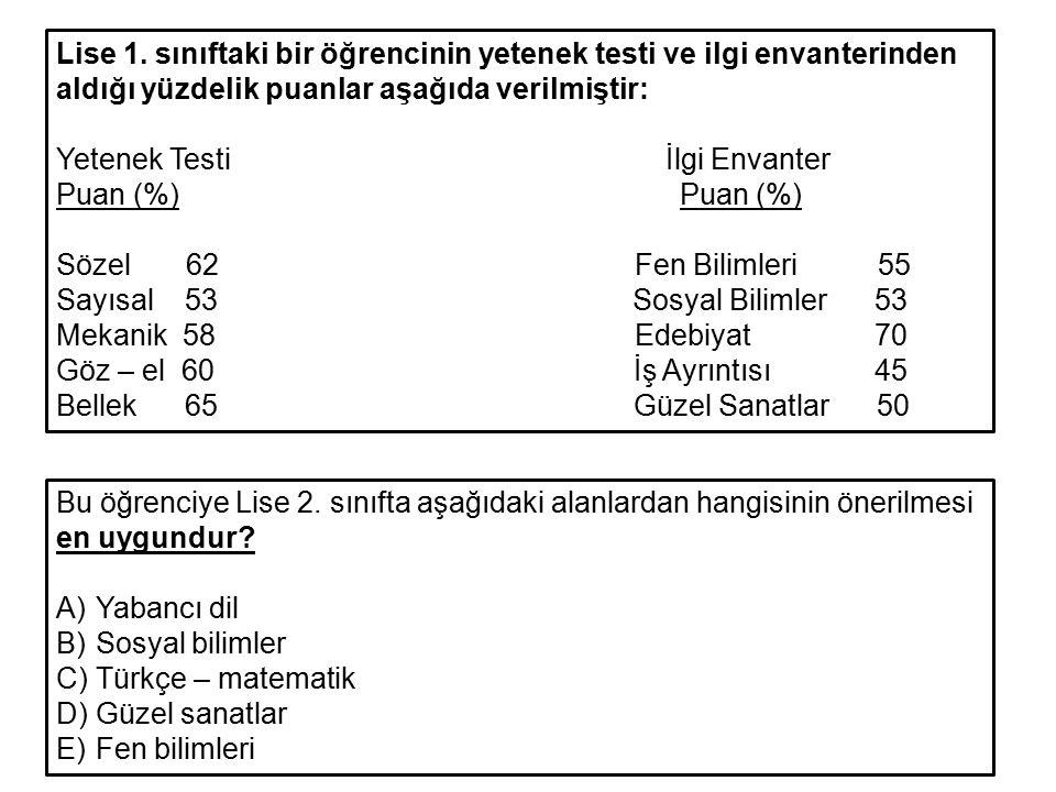Lise 1. sınıftaki bir öğrencinin yetenek testi ve ilgi envanterinden aldığı yüzdelik puanlar aşağıda verilmiştir: