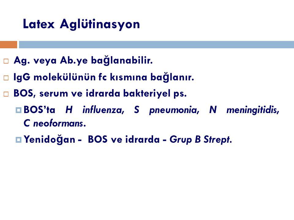 Latex Aglütinasyon Ag. veya Ab.ye bağlanabilir.