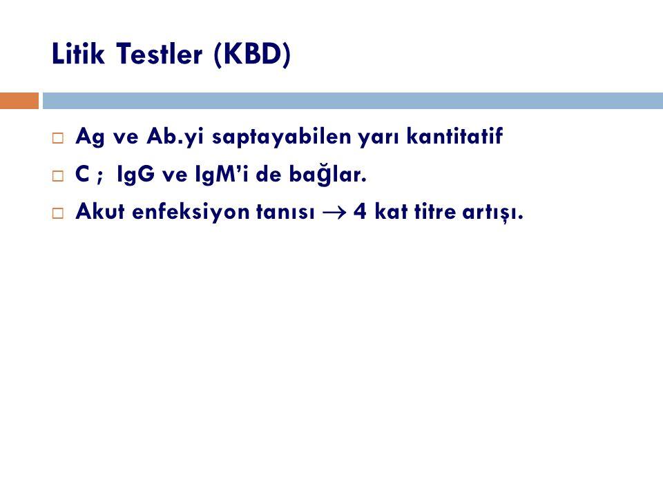 Litik Testler (KBD) Ag ve Ab.yi saptayabilen yarı kantitatif