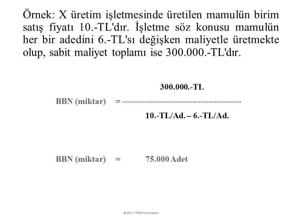 Örnek: X üretim işletmesinde üretilen mamulün birim satış fiyatı 10