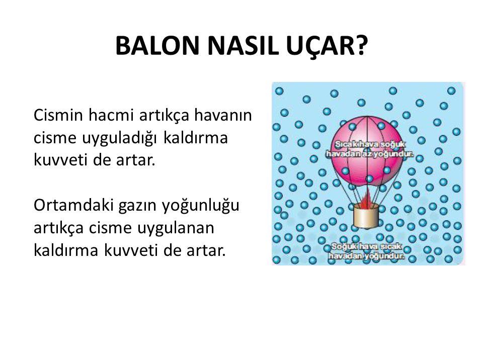 BALON NASIL UÇAR Cismin hacmi artıkça havanın cisme uyguladığı kaldırma kuvveti de artar.