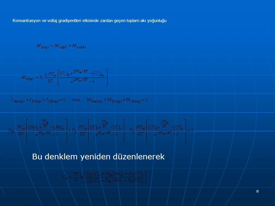 Bu denklem yeniden düzenlenerek