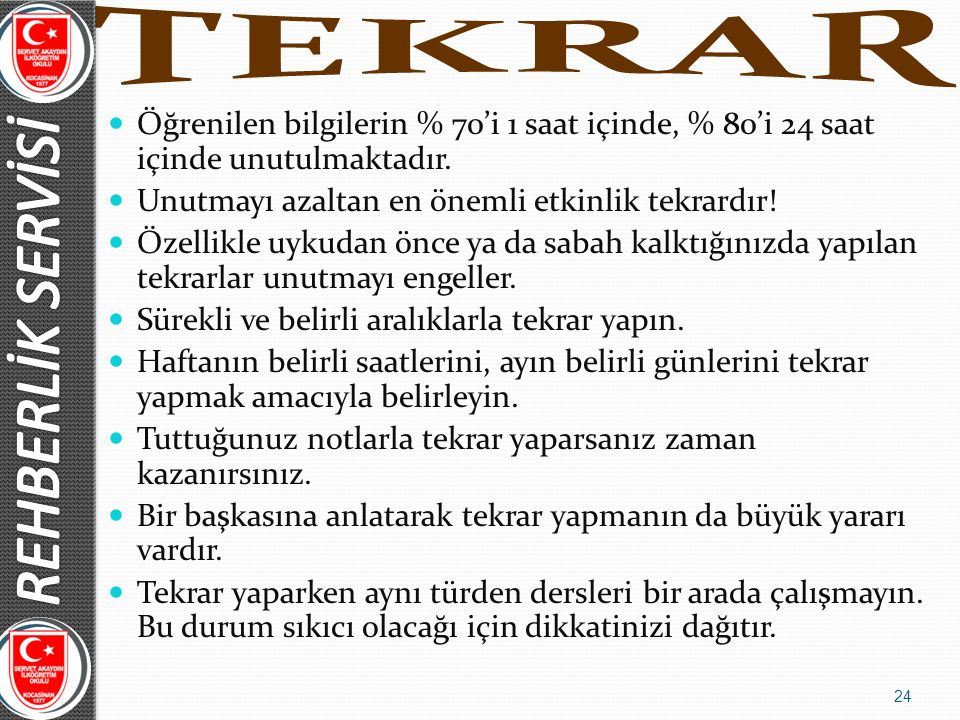 REHBERLİK SERVİSİ TEKRAR