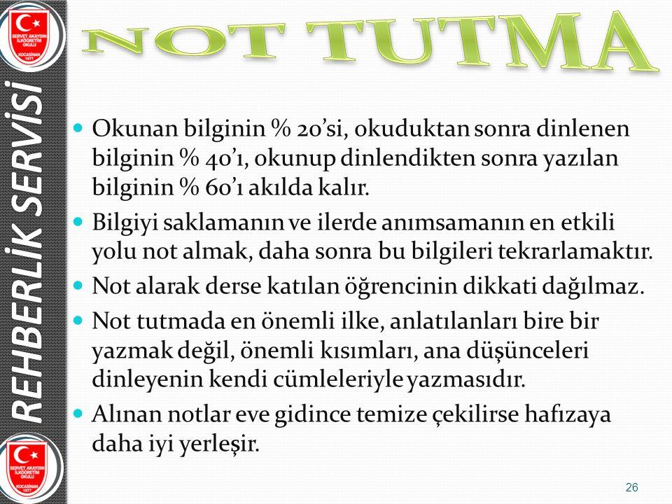 NOT TUTMA REHBERLİK SERVİSİ