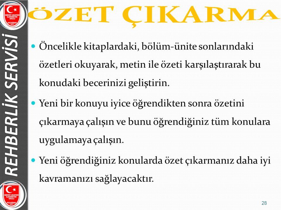ÖZET ÇIKARMA REHBERLİK SERVİSİ