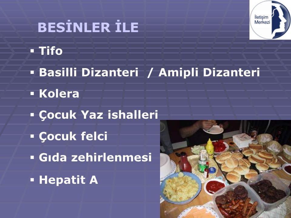 BESİNLER İLE Tifo Basilli Dizanteri / Amipli Dizanteri Kolera