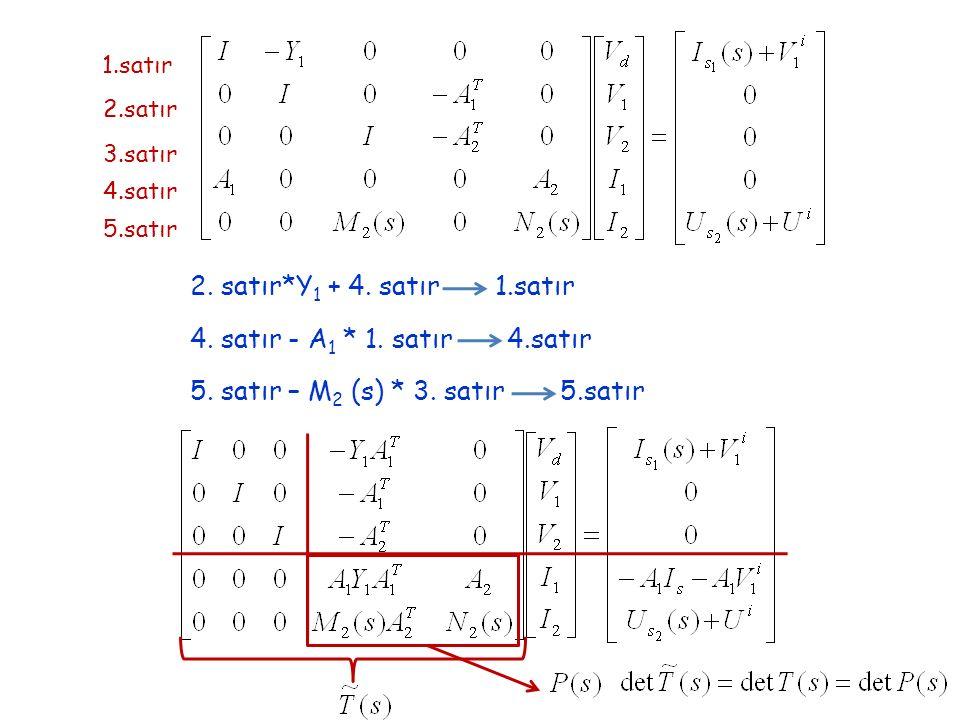 5. satır – M2 (s) * 3. satır 5.satır