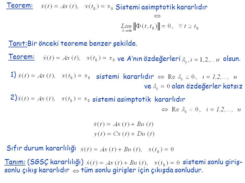 Teorem: Sistemi asimptotik kararlıdır. Tanıt:Bir önceki teoreme benzer şekilde. Teorem: ve A'nın özdeğerleri olsun.