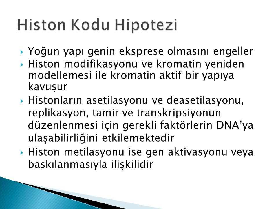 Histon Kodu Hipotezi Yoğun yapı genin eksprese olmasını engeller