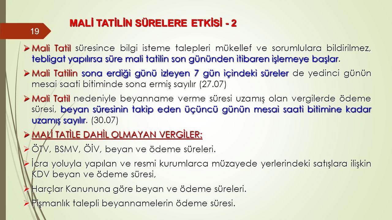 MALİ TATİLİN SÜRELERE ETKİSİ - 2