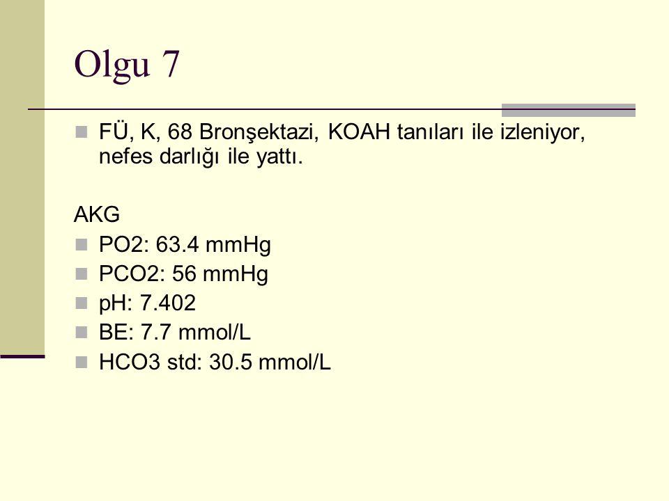 Olgu 7 FÜ, K, 68 Bronşektazi, KOAH tanıları ile izleniyor, nefes darlığı ile yattı. AKG. PO2: 63.4 mmHg.