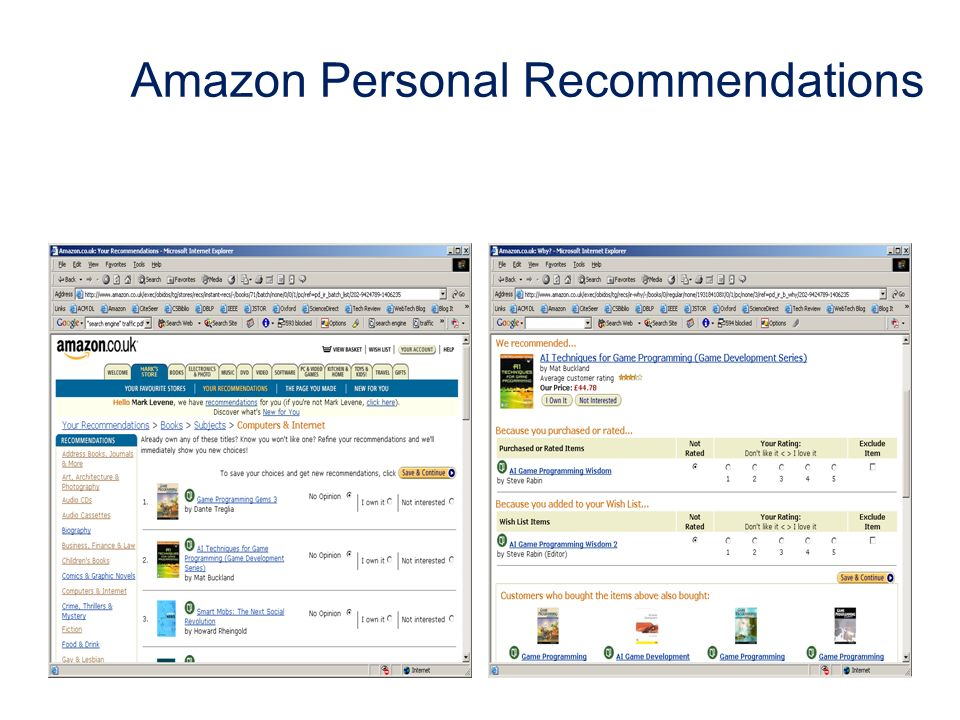 Amazon Personal Recommendations