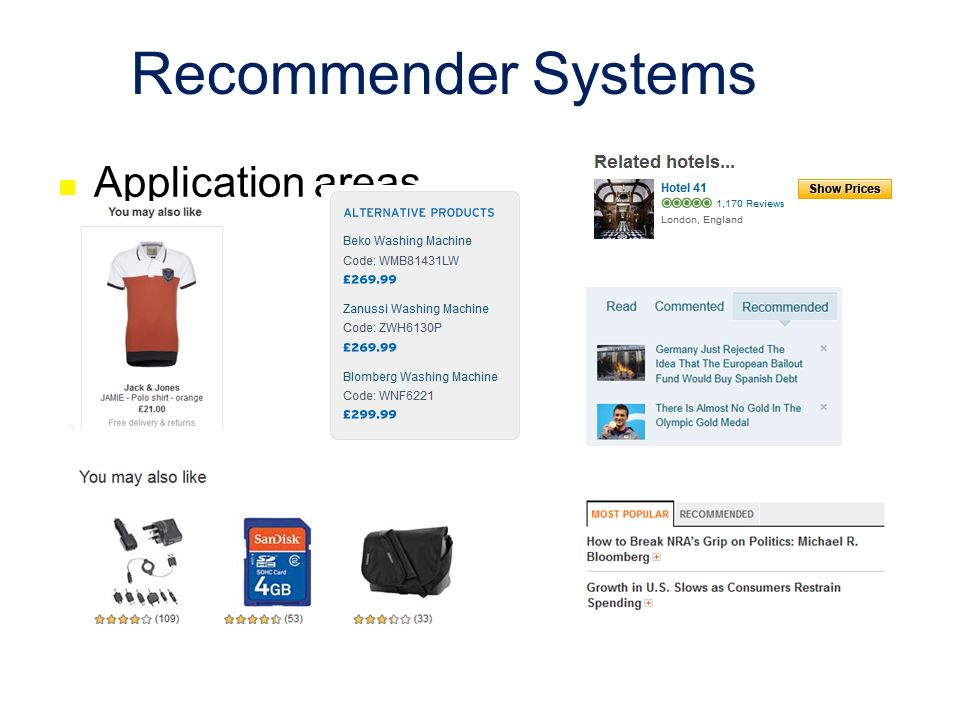 Recommender Systems Application areas