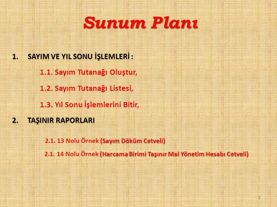 Sunum Planı 1.1. Sayım Tutanağı Oluştur, 1.2. Sayım Tutanağı Listesi,