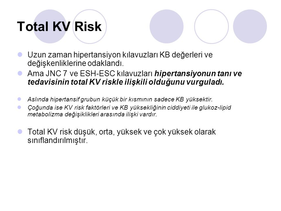 Total KV Risk Uzun zaman hipertansiyon kılavuzları KB değerleri ve değişkenliklerine odaklandı.