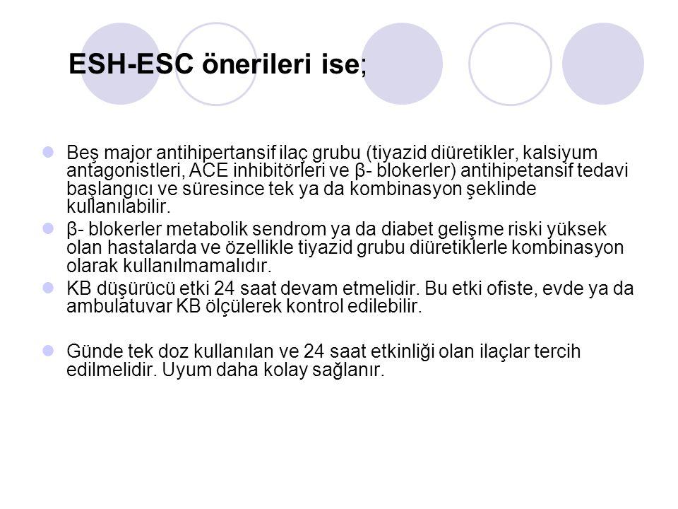ESH-ESC önerileri ise;