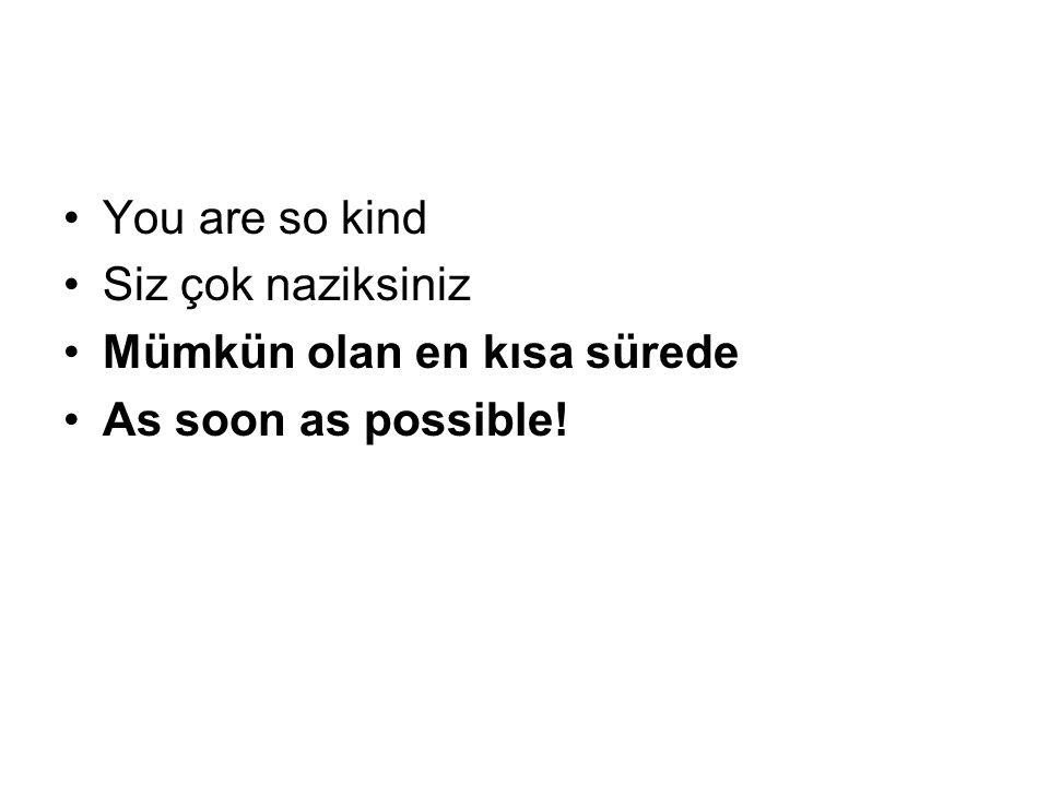 You are so kind Siz çok naziksiniz Mümkün olan en kısa sürede As soon as possible!