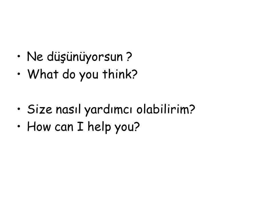 Ne düşünüyorsun What do you think Size nasıl yardımcı olabilirim How can I help you