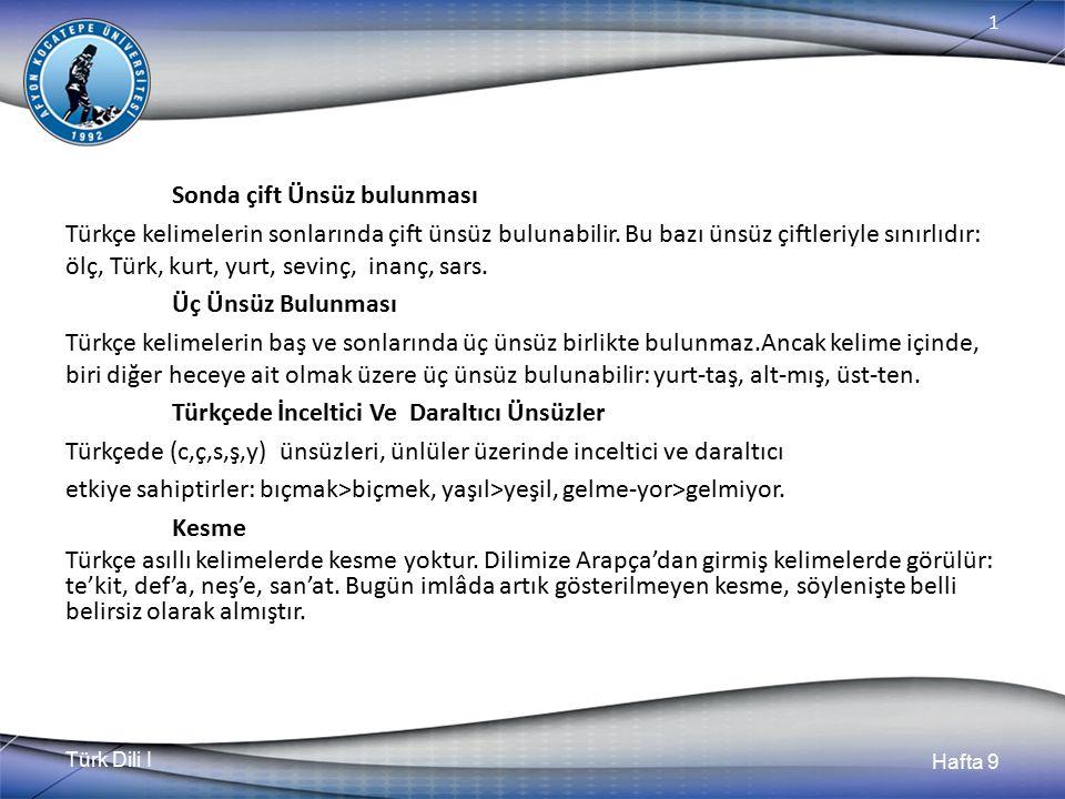 Sonda çift Ünsüz bulunması Türkçe kelimelerin sonlarında çift ünsüz bulunabilir.