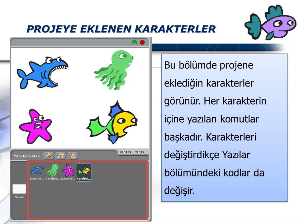 PROJEYE EKLENEN KARAKTERLER