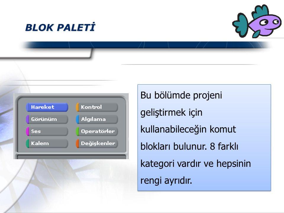 BLOK PALETİ Bu bölümde projeni geliştirmek için kullanabileceğin komut blokları bulunur.