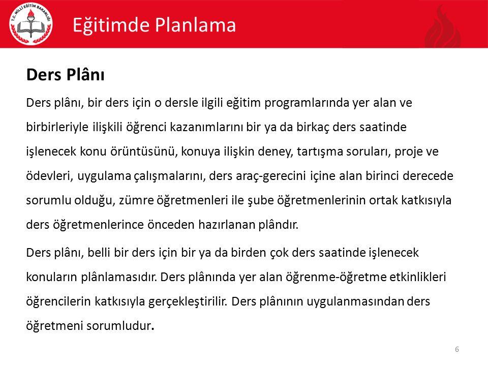 Eğitimde Planlama Ders Plânı