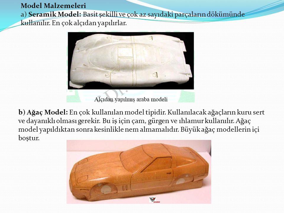 Model Malzemeleri a) Seramik Model: Basit şekilli ve çok az sayıdaki parçaların dökümünde kullanılır. En çok alçıdan yapılırlar.