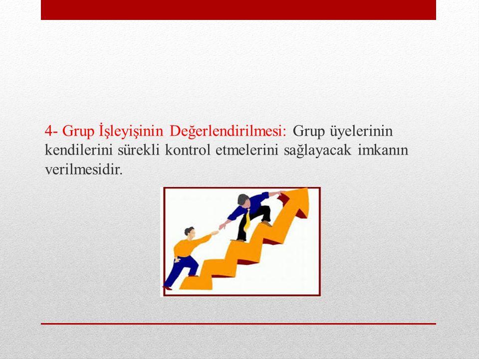 4- Grup İşleyişinin Değerlendirilmesi: Grup üyelerinin kendilerini sürekli kontrol etmelerini sağlayacak imkanın verilmesidir.