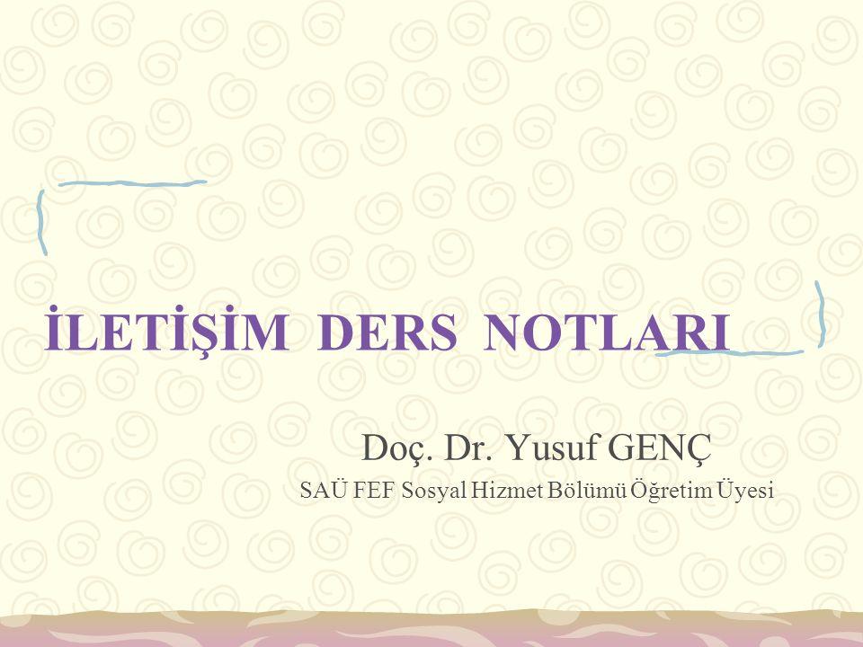 Doç. Dr. Yusuf GENÇ SAÜ FEF Sosyal Hizmet Bölümü Öğretim Üyesi