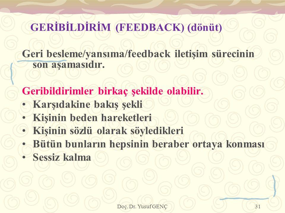 GERİBİLDİRİM (FEEDBACK) (dönüt)