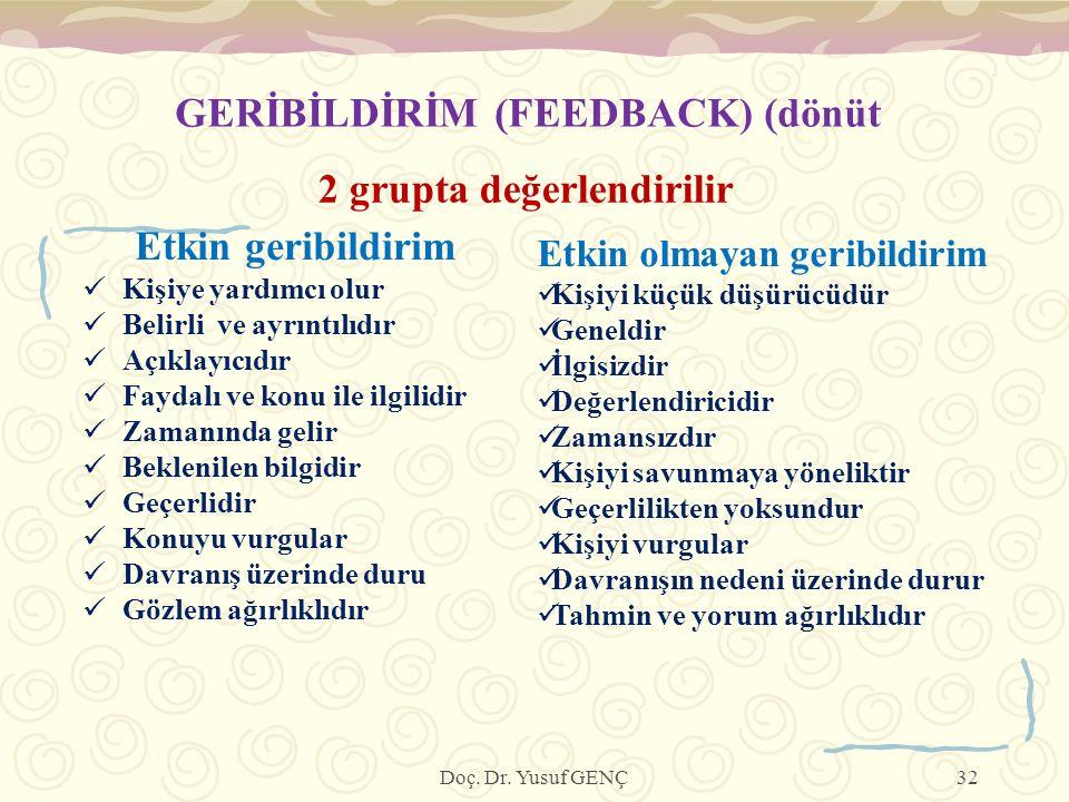GERİBİLDİRİM (FEEDBACK) (dönüt