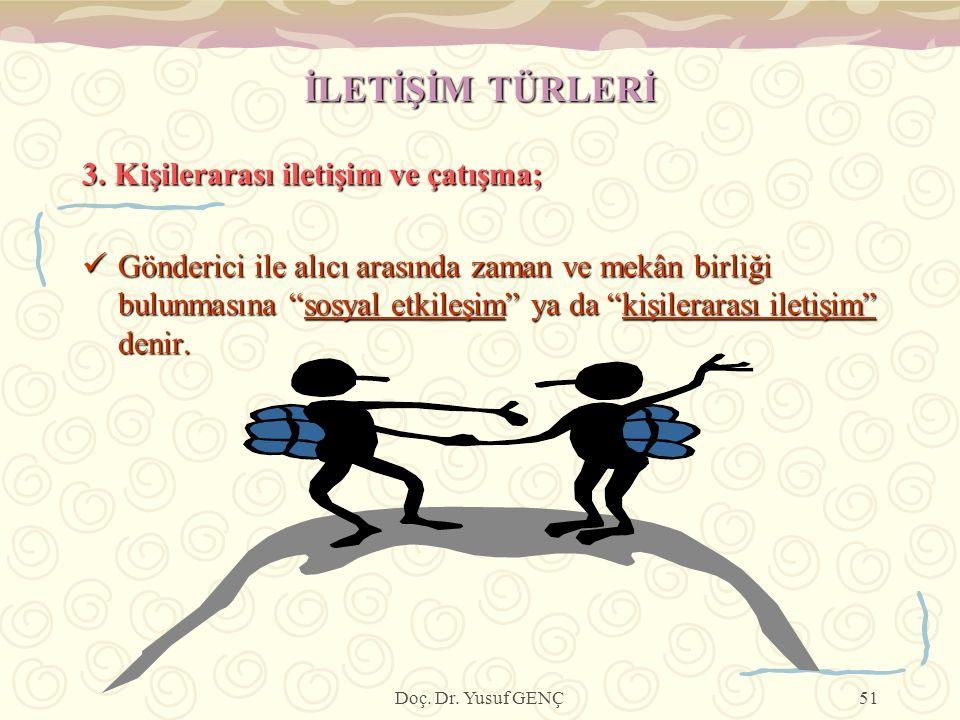 İLETİŞİM TÜRLERİ 3. Kişilerarası iletişim ve çatışma;