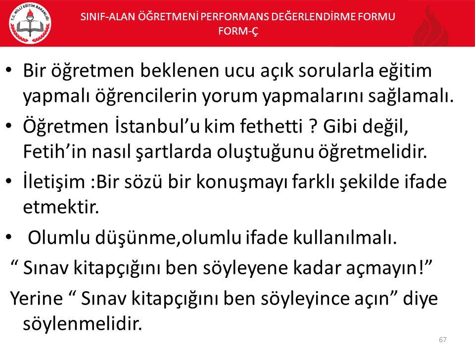 SINIF-ALAN ÖĞRETMENİ PERFORMANS DEĞERLENDİRME FORMU FORM-Ç