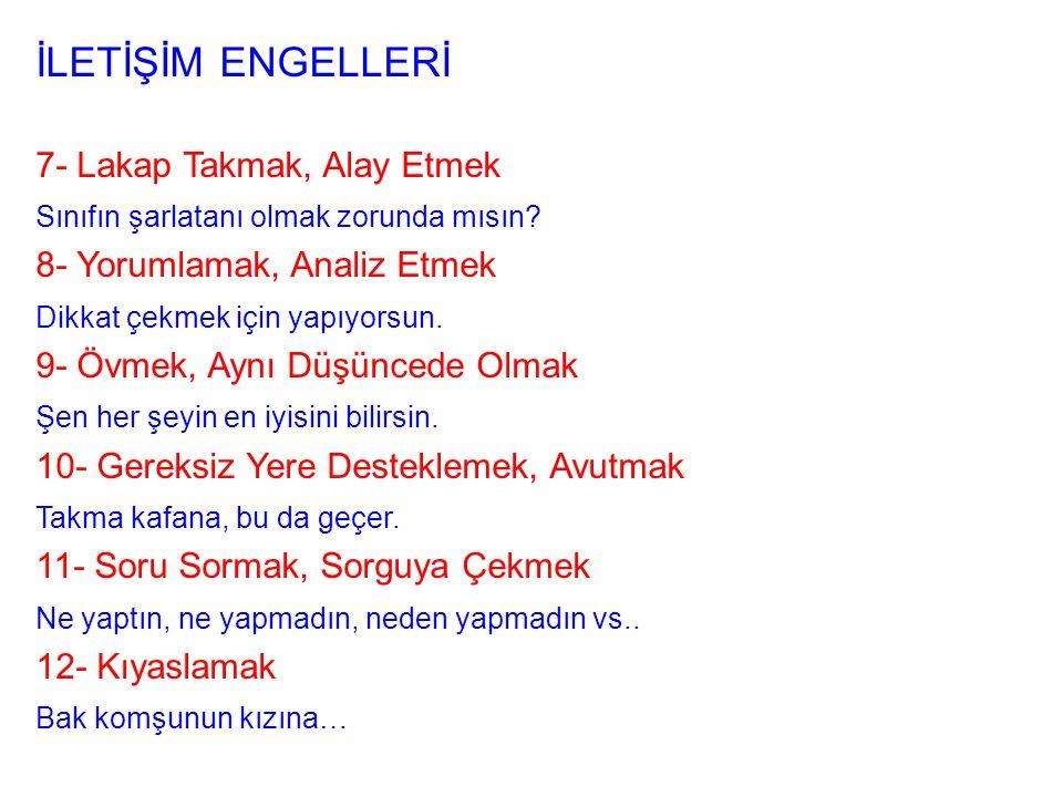 İLETİŞİM ENGELLERİ 7- Lakap Takmak, Alay Etmek