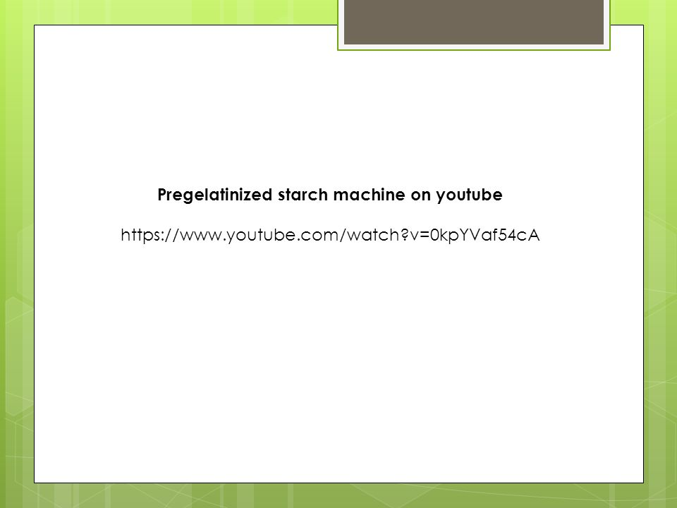 Pregelatinized starch machine on youtube