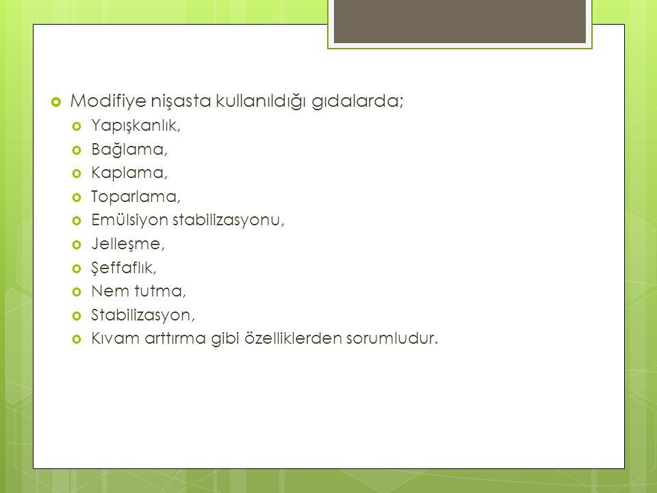Modifiye nişasta kullanıldığı gıdalarda;