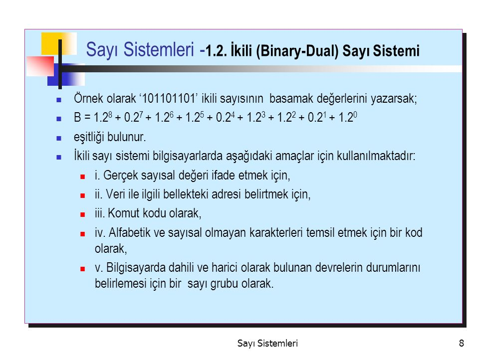 Sayı Sistemleri -1.2. İkili (Binary-Dual) Sayı Sistemi