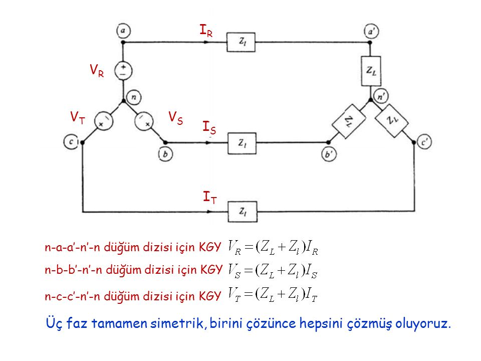 Üç faz tamamen simetrik, birini çözünce hepsini çözmüş oluyoruz.