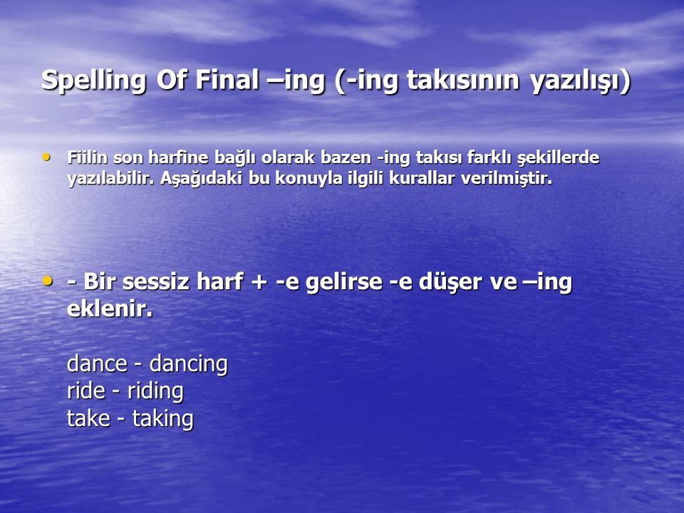 Spelling Of Final –ing (-ing takısının yazılışı)