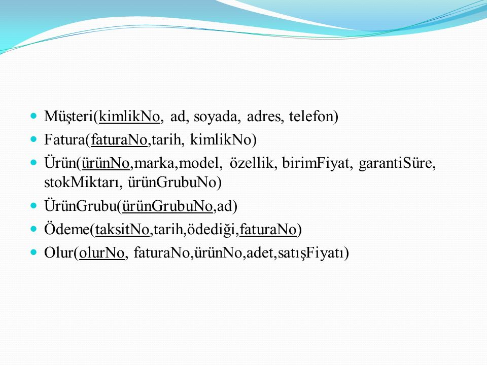 Müşteri(kimlikNo, ad, soyada, adres, telefon)