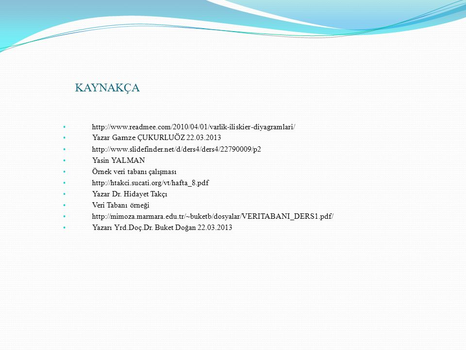 KAYNAKÇA http://www.readmee.com/2010/04/01/varlik-iliskier-diyagramlari/ Yazar Gamze ÇUKURLUÖZ 22.03.2013.