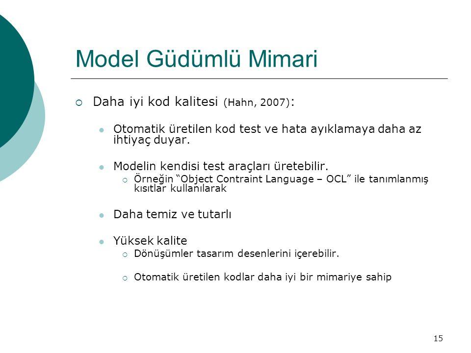 Model Güdümlü Mimari Daha iyi kod kalitesi (Hahn, 2007):