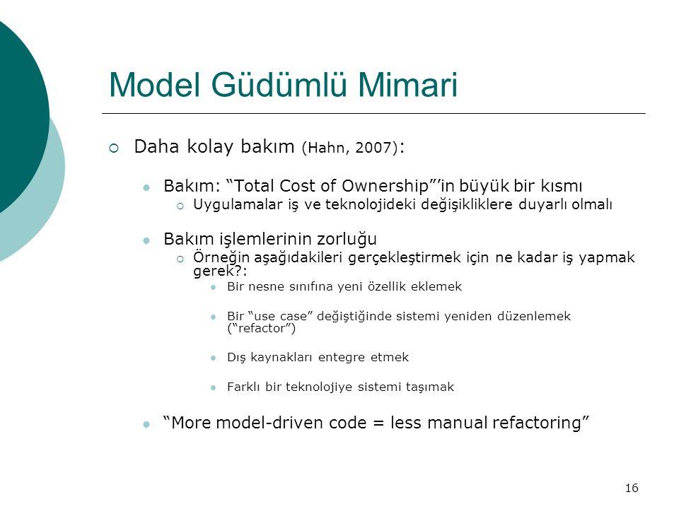 Model Güdümlü Mimari Daha kolay bakım (Hahn, 2007):