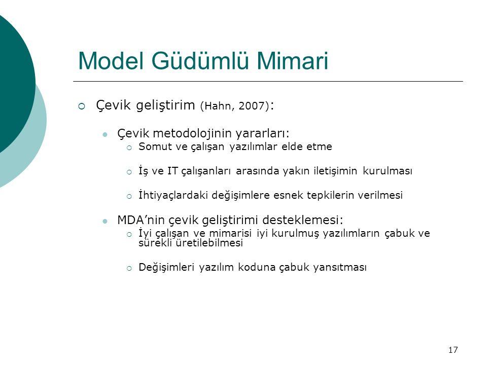 Model Güdümlü Mimari Çevik geliştirim (Hahn, 2007):