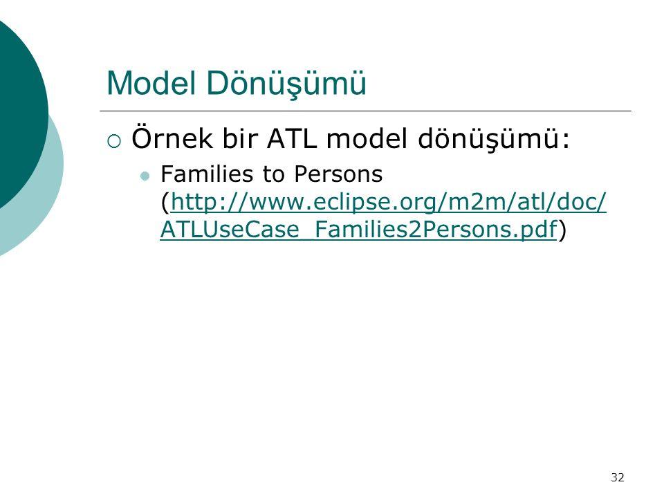 Model Dönüşümü Örnek bir ATL model dönüşümü: