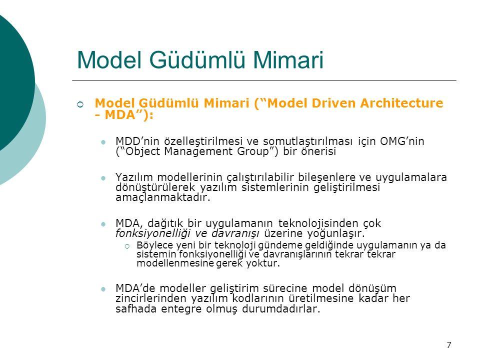 Model Güdümlü Mimari Model Güdümlü Mimari ( Model Driven Architecture - MDA ):