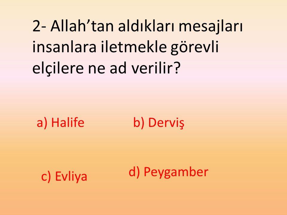 2- Allah'tan aldıkları mesajları insanlara iletmekle görevli elçilere ne ad verilir